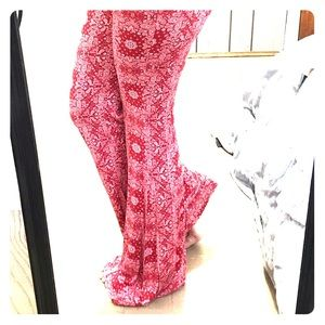 Forever 21 red paisley print, knit flared pants
